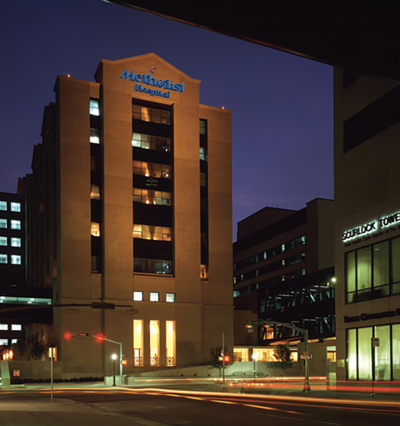 Houston Methodist Hospital Dunn Tower at Night